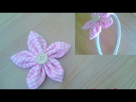 Fiore di stoffa kanzashi mami crea youtube for Tutorial fermaporta di stoffa