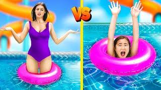 Long Legs vs Short Legs Problems in a Water Park!
