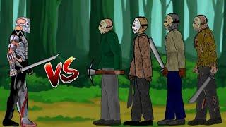 🔥 Battle of Uber Jason (Jason X) vs 4 Jason's   Friday The 13th   Horror 2d Animation Film