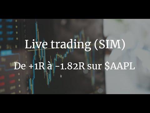 Live trading (SIM): de 1R à -1.82R sur $AAPL 1