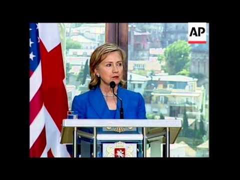 WRAP Clinton meets Saakashvilli, FM, joint presser
