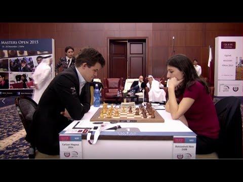 Magus Carlsen Vs Nino Batsiashvili || Qatar Chess Masters 2015
