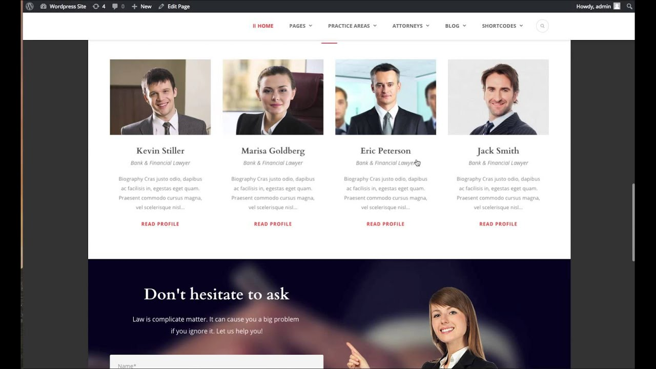 lawyer base - installing theme & setting up as demo site