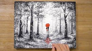 «Красный зонт» Техника рисования ватными палочками #420