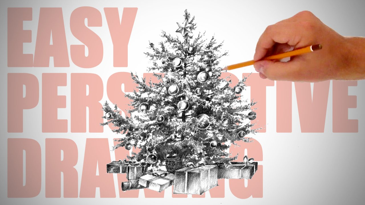 How To Draw A Realistic Christmas Tree.How To Draw A Christmas Tree X Mas Special Easy Perspective Drawing 11