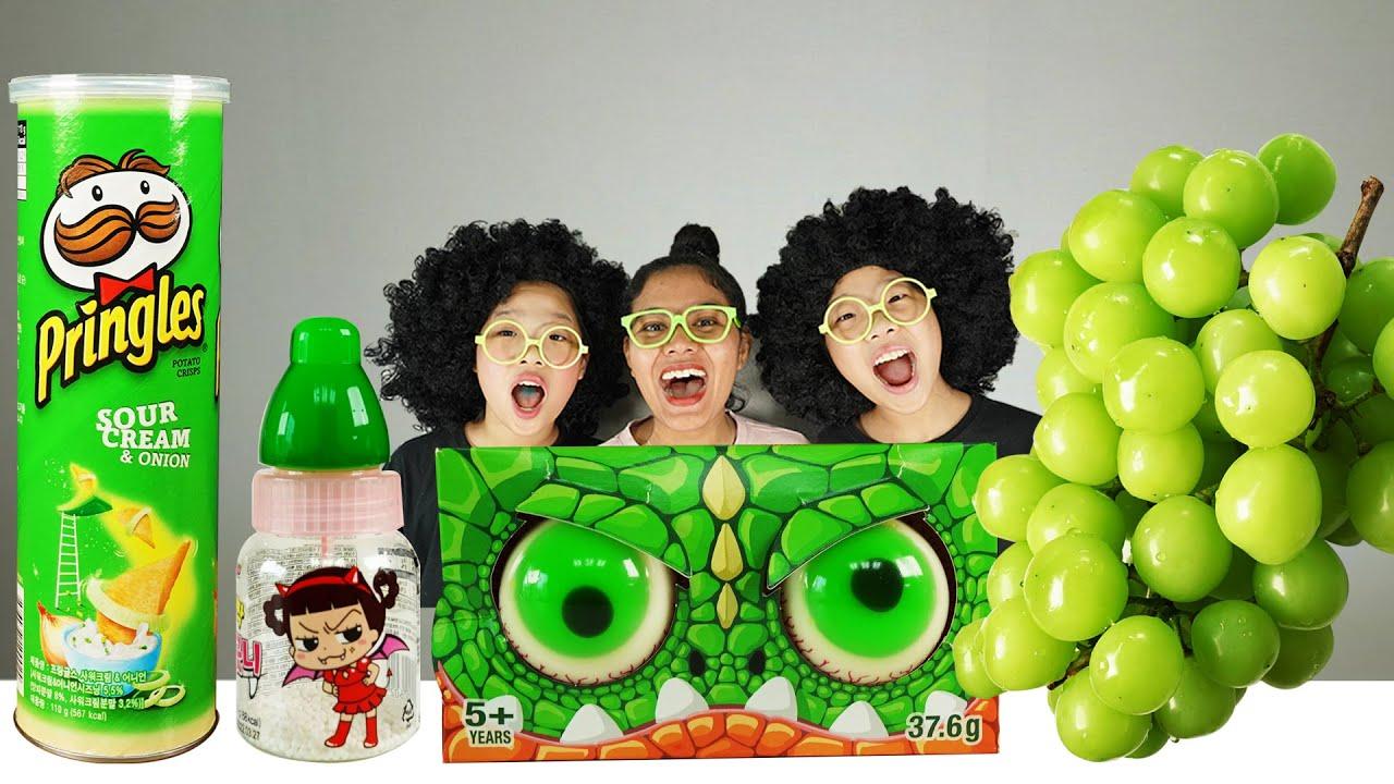 Green food 초록색 먹방 TwinRoozi Mukbang 쌍둥이루지