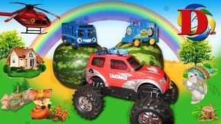 ПРИКЛЮЧЕНИЯ ТАЙО Новая Сказка! Машинки Хот Вилс Монстр Трак и паровозик Томас! Tayo little bus NEW