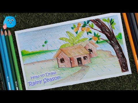 how-to-draw-a-scenery-of-rainy-season-easy-drawing-with-pencil-color