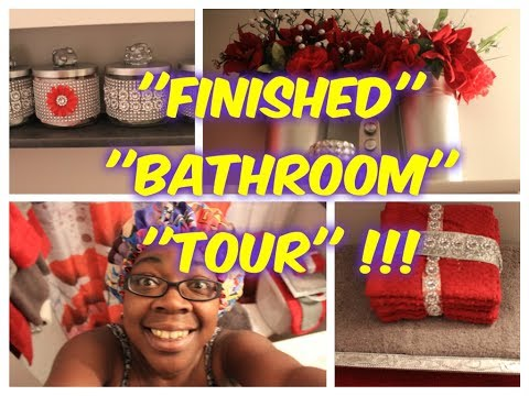 BATHROOM MAKEOVER COMPLETE RED AND SILVER