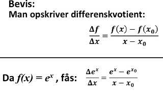Bevis differentialkvotient og dermed også stamfunktion til e i x'te
