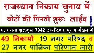 Rajasthan Nagar Nikay / Nigam Palika Election Result 2019 Live : चुनाव में वोटों की गिनती शुरू