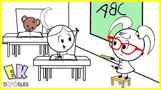 "Emma & Kate ""Back to School"" with Teacher Ryan - EK Doodles Funny Cartoon Animation"
