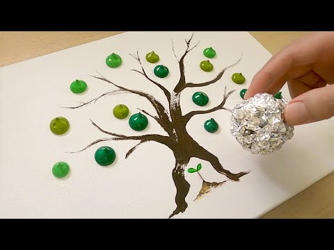 How to Draw a Growing Tree from Sprout / Acrylic Painting