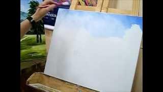 Como pintar céu – Pintura em Tela para Iniciantes – Ariane Cerveira