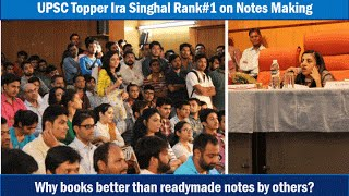 Ira Singhal (IAS Rank-1) Notes Making, Books-reading, News-Debates & Current Affairs