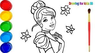 Vẽ công chúa lọ lem và tô màu cho bé - Dạy bé vẽ tô màu - Glitter Cinderella drawing and coloring