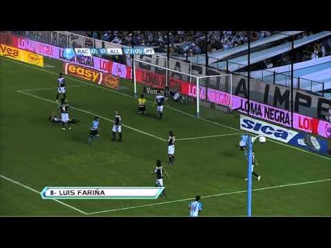 Gol de Fariña. Racing 1 All Boys 0. Torneo Inicial 2012. Fecha 18. Fútbol Para Todos.