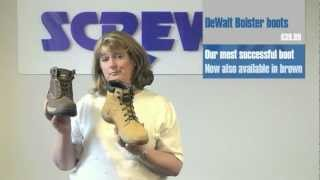 Screwfix Buyer Susie Spence Demonstrates Site Beagle Trousers Black DeWalt Bolster Safety Boots