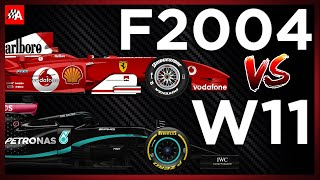 Comparing the Ferrari F2004 vs Mercedes W11 2020 Formula 1 car