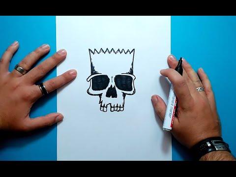 Como Dibujar La Calavera De Bart Paso A Paso - Los Simpsons | How To Draw Bart's Skull