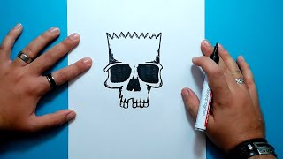 Como dibujar la calavera de Bart paso a paso - Los Simpsons | How to draw Bart