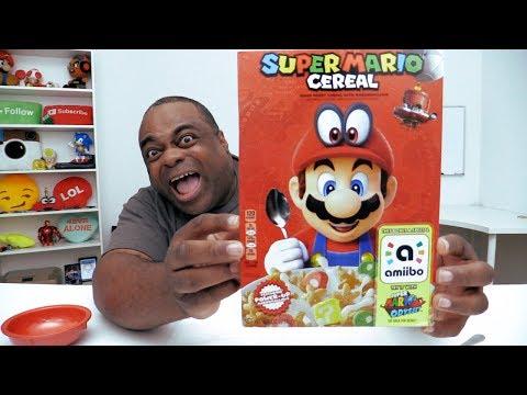 SUPER MARIO CEREAL Taste Test! [The box is an Amiibo!]