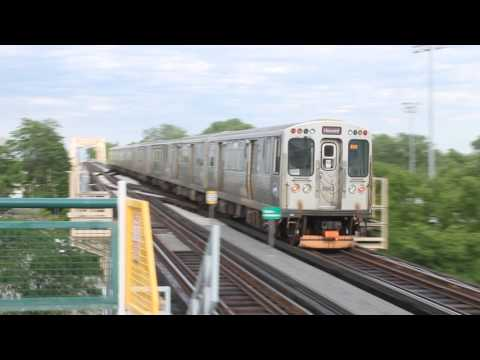 CTA Red Line Trains via the Green Line leave Halsted