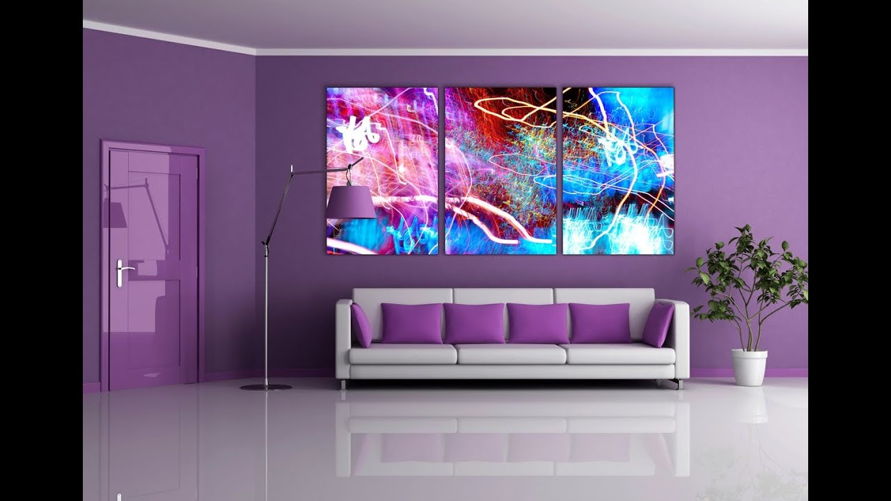 purple wall paint living room furniture decor ideas - YouTube