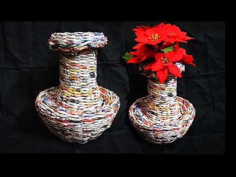 How to Make a Flower Vase by Newspaper Weaving|| DIY Homedecor