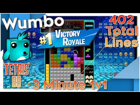 Tetris 99 - Intense Game - 3 Minute 1v1 - 402 Total Lines