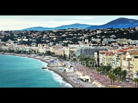 France, Nice, 15.09.2015: Top view on the Promenade des Anglais, nice beach, Negresco hotel