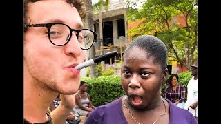 Jamaica reacts to MAGIC!!  ( Julius Dein Street Magic )