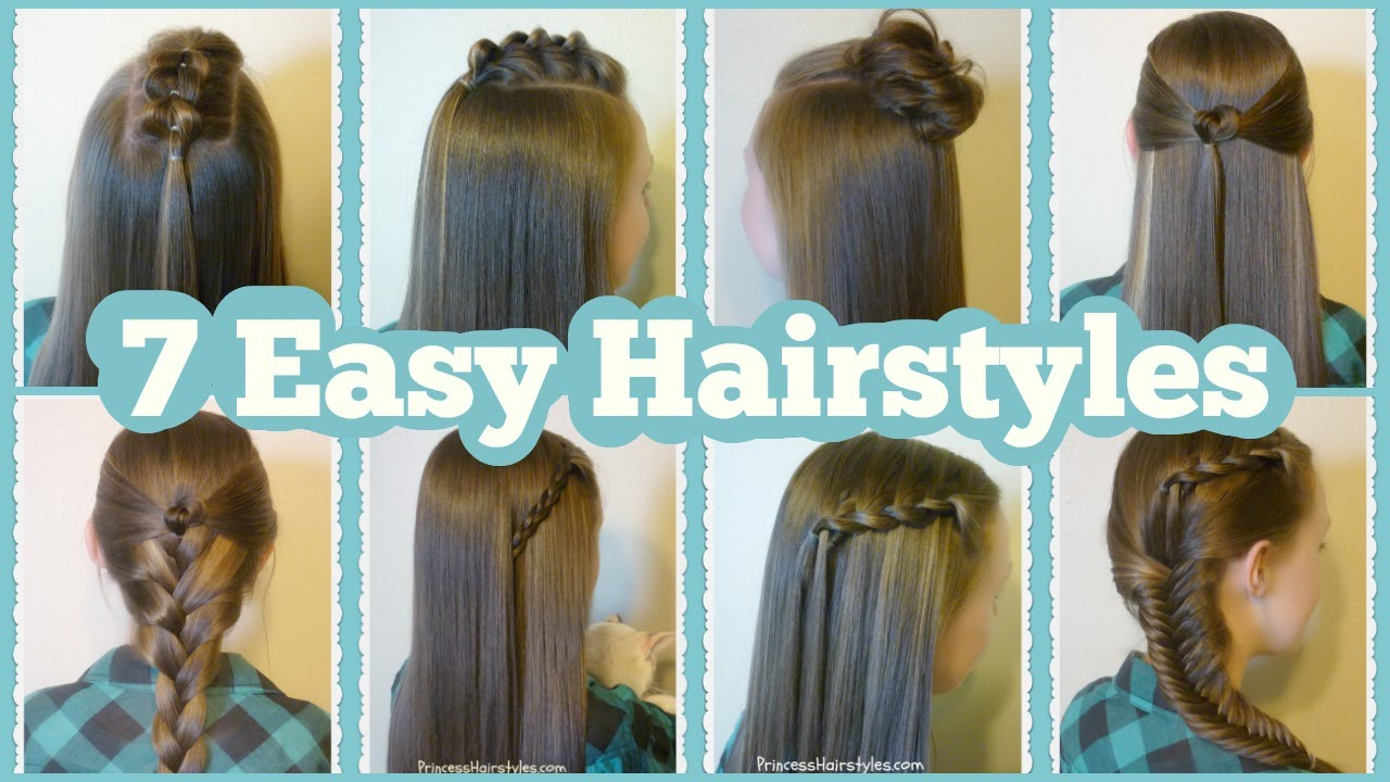 7 Quick And Easy Hairstyles For School - YouTube