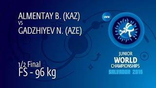 1/2 FS - 96 Kg: N. GADZHIYEV (AZE) Df. B. ALMENTAY (KAZ), 7-0
