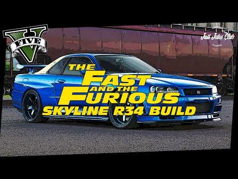 FAST & FURIOUS NISSAN SKYLINE R34 CUSTOM CAR BUILD TUTORIAL: GTA 5 ONLINE (ELEGY RETRO CUSTOM)