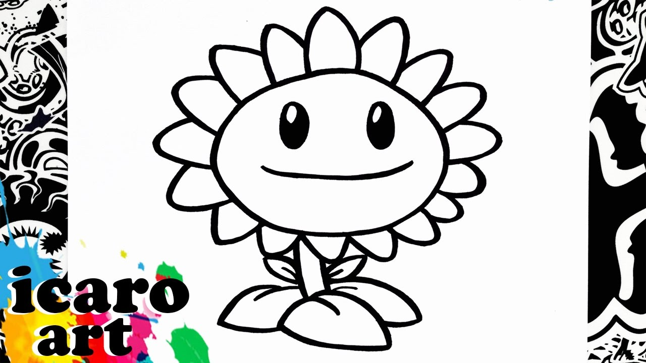 como dibujar el girasol de plants vs zombies | how to draw sunflower ...
