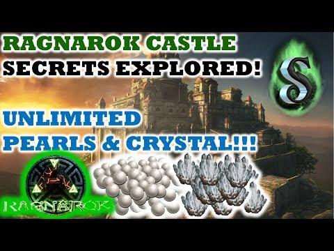 RAGNAROK CASTLE SECRETS EXPLORED - SECRET CAVE TO UNLIMITED CRYSTAL AND PEARLS - ARK 2017