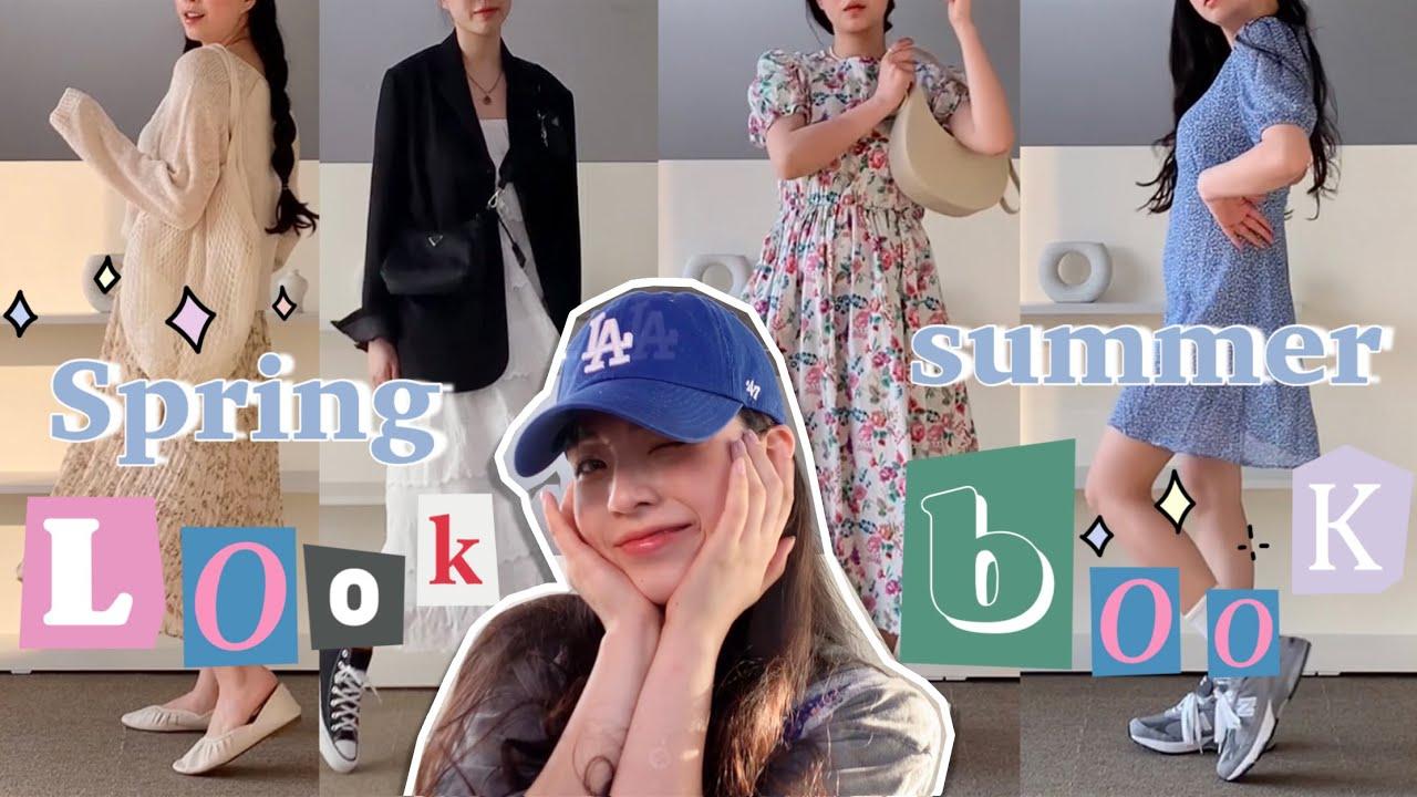 🌼Spring & Summer 여친룩 원피스 코디 룩북  꽃무늬 플라워 에이프런 레이어드 무지 원피스 룩북