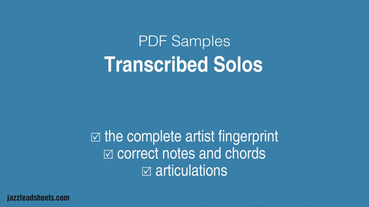 Transcribed Solos | jazzleadsheets com | jazzleadsheets com by