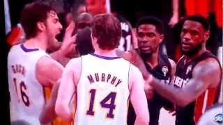 LeBron James shoves Troy Murphy and Pau Gasol gets mad 04/03/2012 thumbnail