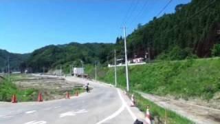 田老駅に到着する三陸鉄道北リアス線の復興列車。(2011.7.17)