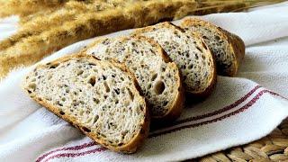 Любимый Домашний хлеб на пшеничной закваске с цельнозерновой мукой и льном