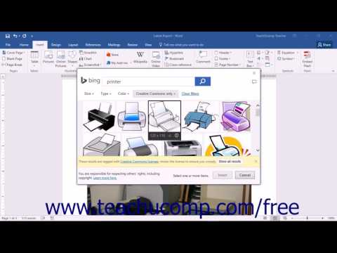 Word 2016 Tutorial Inserting Online Pictures Microsoft Training