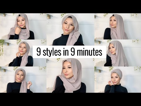 9 STYLES IN 9 MINUTES !! | Hijab tutorial for beginners - YouTube