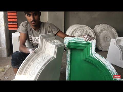 How to Gypsum Plaster Cornice corner Making By Fiber Mold, Cornice Making By Plaster Powder Mixture