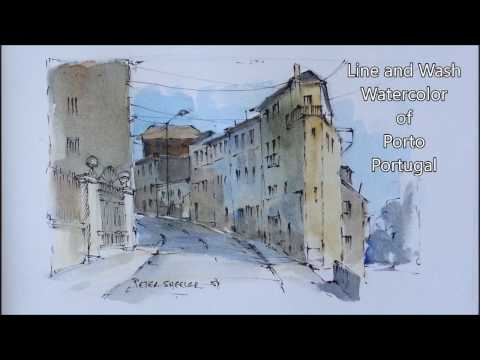 Pen and Wash Watercolor Demonstration using a pencil sketch. By Peter Sheeler