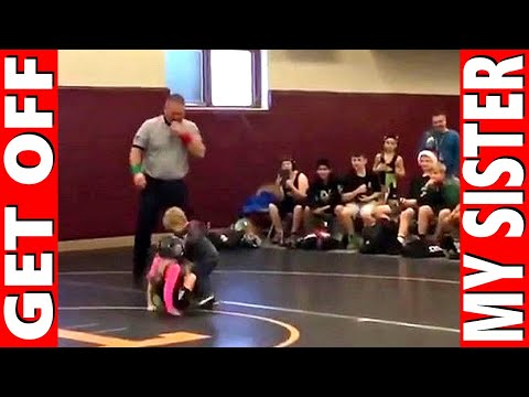 Little Brother Saves Sister In Wrestling Match Get Off My Sister