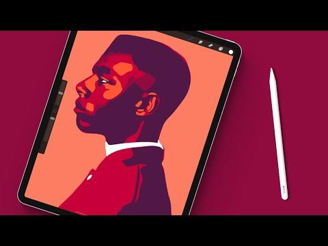 Drawing A Minimal Portrait In Procreate | iPad Pro