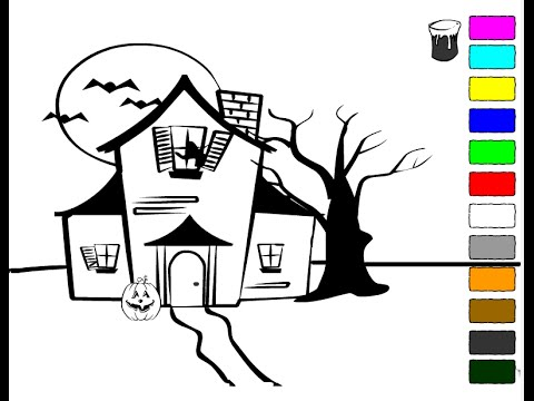 Haunted House Coloring Pages For Kids - Haunted House Coloring Pages ...