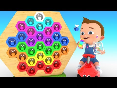 Thumbnail: Learn Colors for Children with Baby Funny Play Catching Honey Bees Wooden Bee House Toy 3D Kids Edu